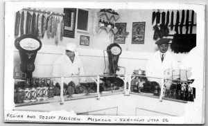 Magda Brown's parents, Regina and Jozsef Perlstein, in their butcher shop